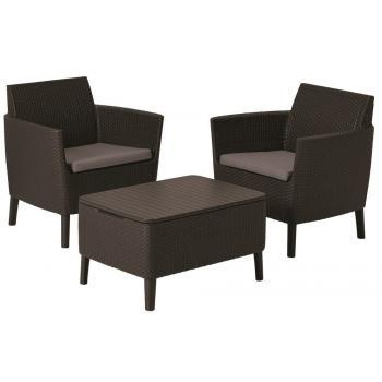 Menší sestava balkonového ratanového nábytku, stůl s úložným prostorem, hnědá