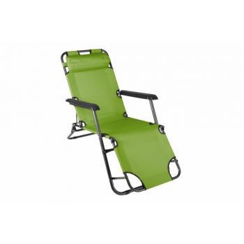Kovová skládací zahradní židle / lehátko, textilní potah, zelená