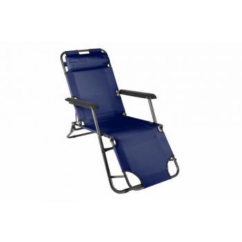 Kovová skládací zahradní židle / lehátko, textilní potah, modrá