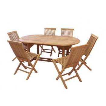 Sada týkového zahradního nábytku s rozkládacím stolem, pro 6 osob