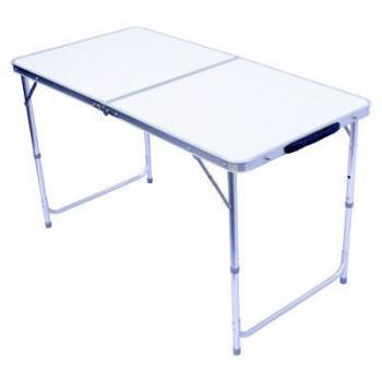 Hliníkový skládací kempinkový stolek, nastavitelná výška, 120x60 cm