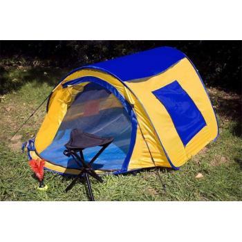 Samostavěcí turistický stan pro 2 osoby, žlutá / modrá, 225x150x105 cm