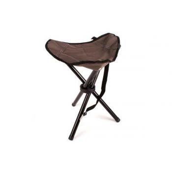 Skládací přenosná kempinková židlička - trojnožka, hnědá, kov / textil