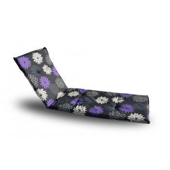 Měkká podložka pro lehátka, antracit + barevné květy, 190x60 cm