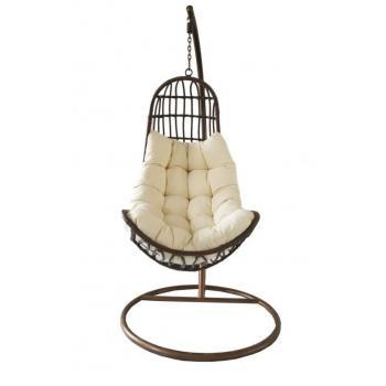 Závěsné relaxační křeslo, ocelová konstrukce, vč. polstru, hnědé, 200 cm