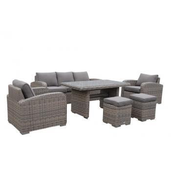 Luxusní venkovní set nábytku z umělého ratanu, hnědý