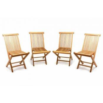 4 ks bytelná skládací zahradní židle z teakového dřeva, bez područek
