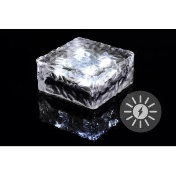 Ozdobná venkovní svítící kostka (svítící kámen) solární, 10x10x5 cm