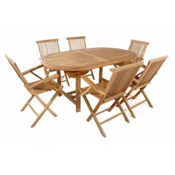 Rodinná sestava dřevěného teakového nábytku, rozkládací stůl