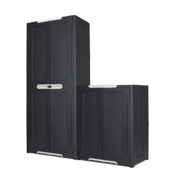 Uzamykatelná plastová skříň pro uskladnění věcí, antracit, 77x48x90cm