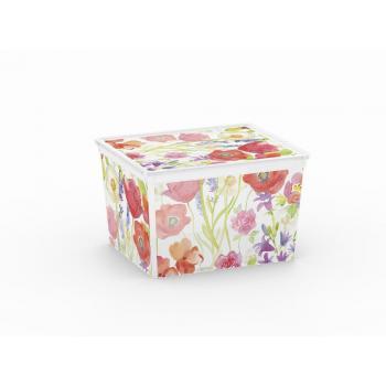 Skladovací box do domácnosti / na zahradu, poloprůhledný, květiny, 27 L