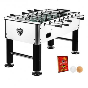 Bytelný stůl na stolní fotbal- vyztužená konstrukce, bílá / černá, 137x120x93 cm