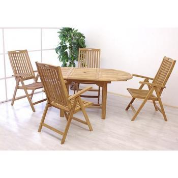 Venkovní teaková sestava stolu a židlí na zahrad / terasu, teak, rozkládací