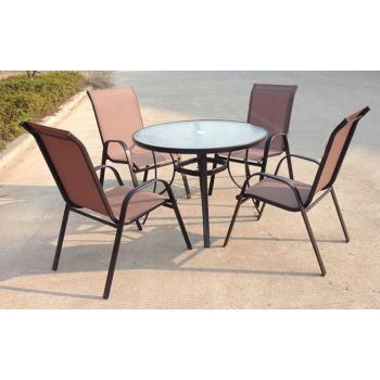 Set kovového zahradního nábytku, stůl se skleněnou deskou, pro 4 osoby