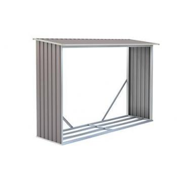 Kovový přístřešek na dřevo ke stěně / k plotu, šedý, 242x160x75 cm