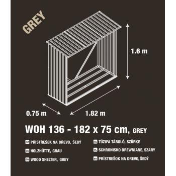 Kovový přístřešek na dřevo ke stěně / k plotu, šedý, 182x160x75 cm