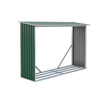 Kovový přístřešek na dřevo ke stěně / k plotu, zelený, 242x160x75 cm