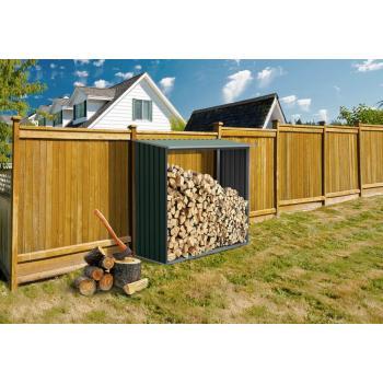 Kovový přístřešek na dřevo ke stěně / k plotu, zelený, 182x160x75 cm