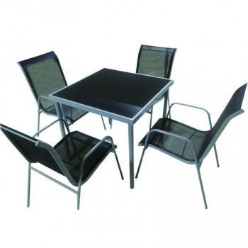 Menší set venkovního nábytku pro 4, balkon / terasa, kov + textilie + sklo