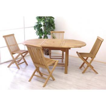 Zahradní souprava masivního dřevěného nábytku, oválný rozkládací stůl