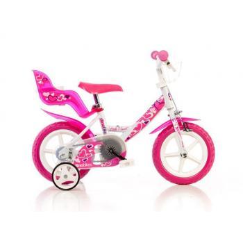 Dětské dívčí kolo 12 se sedačkou pro panenku, růžovo - bílé, přídavná kolečka