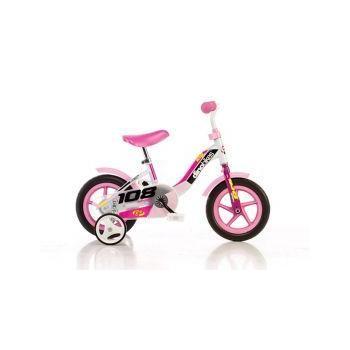 Dětské  jízdní kolo 10, plastová kola, růžovo - bílé, přídavná kolečka