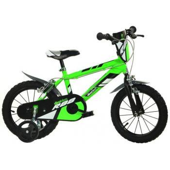 Dětské jízdní kolo 14, BMX vzhled, zelené, přídavná kolečka