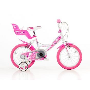 Dětské dívčí kolo 14 se sedačkou pro panenku, růžovo - bílé, přídavná kolečka