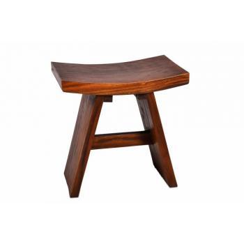 Designová dřevěná stolička (židlička), masivní dřevo SUAR, tmavě hnědá, výška 47 cm