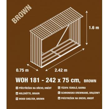 Kovový přístřešek na dřevo, pozink + hnědé lakování, 242x160x75 cm