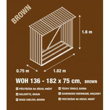 Kovový přístřešek na dřevo, pozink + hnědé lakování, 182x160x75 cm