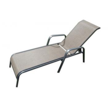 Elegantní kovové zahradní lehátko k bazénu, polohovací, kov / textilie, hnědé