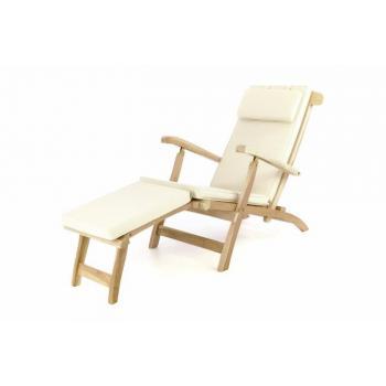 Luxusní dřevěné lehátko z masivního dřeva - teak, nastavitelné, + béžové polstrování