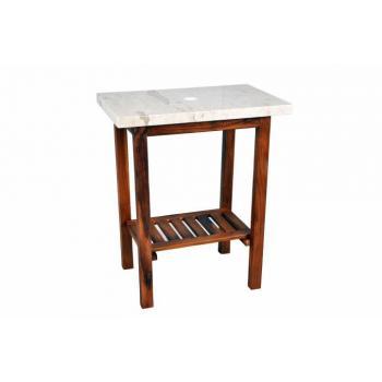 Masivní dřevěný stolek (teak) pod kamenná umyvadla, světlý mramor, 79,5 cm