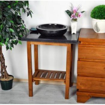 Masivní dřevěný stolek (teak) pod kamenná umyvadla, černý mramor, 79,5 cm