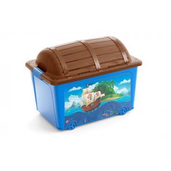 Velký úložný plastový box do dětského pokoje- pirátská truhla s víkem, 50 L