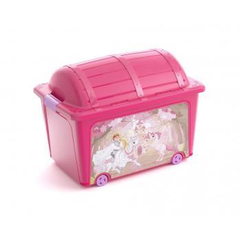 Velký úložný plastový box do dětského pokoje- růžová truhla s víkem, 50 L