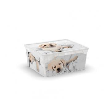 Větší úložný plastový box s víkem, průhledný + potisk psi, 18 L