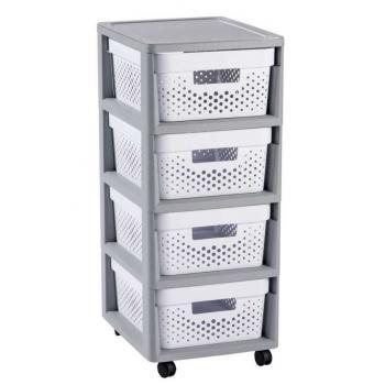 Plastový úložný systém na kolečkách - regál se šuplíky, děrovaný, šedá / bílá, 69 cm