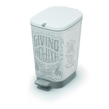 Pedálový odpadkový koš do kuchyně, vyjímatelná nádoba, krémová + potisk, 10 L