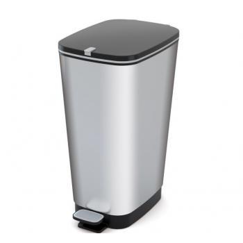 Pedálový odpadkový koš do kuchyně, vyjímatelná nádoba, stříbrný, 50 L