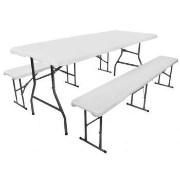 Skládací pivní / piknikový set nábytku, ocel / plast, madla pro přenos, 180 cm