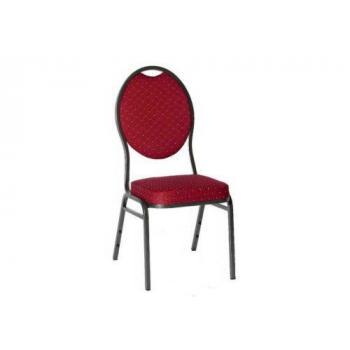 Pevná kongresová interiérová židle, kov / textilní polstrování, nosnost 140 kg, červená