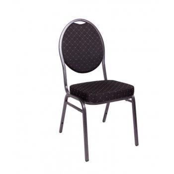 Pevná kongresová interiérová židle, kov / textilní polstrování, nosnost 140 kg, černá