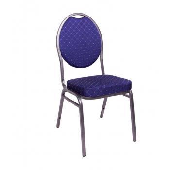 Pevná kongresová interiérová židle, kov / textilní polstrování, nosnost 140 kg, modrá