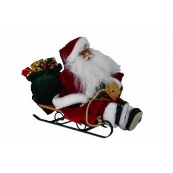 Vánoční figurka - Santa claus na saních, hraje a tleská rukama, na baterie, 20 cm