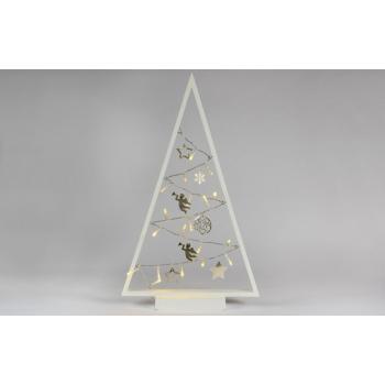 Vánoční výzdoba do okna - osvětlený stromek s dekoracemi, na baterie, bílý, vnitřní, 50 cm