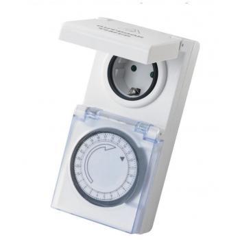 Mechanické spínací hodiny do zásuvky 230 V, 24 hodin, venkovní / vnitřní (IP 44)