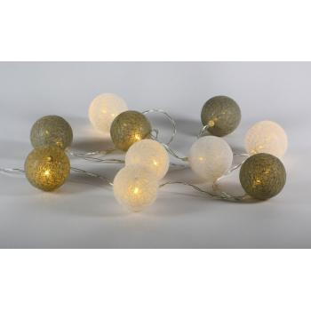 Dekorativní interiérové osvětlení - řetěz z koulí (tkaný vzhled), na baterie, 10 LED