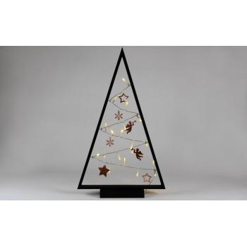 Dekorativní vánoční stromek na okno, s ozdobami, svítící LED diody, na baterie, vnitřní, 50 cm
